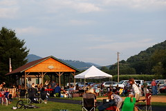 The Band & the crowd in the park in Valle Crucis