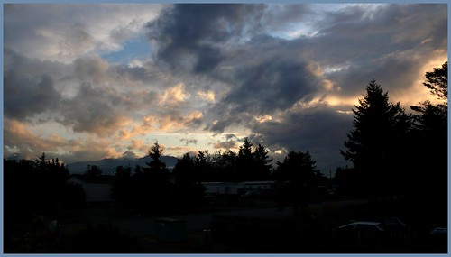 Light and cloudplay around sundown, Sequim, Washington.