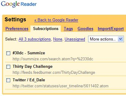 Google Reader - More Actions Menu