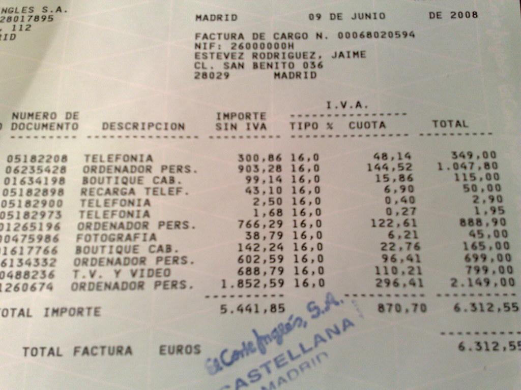 facturas bienes adquiridos