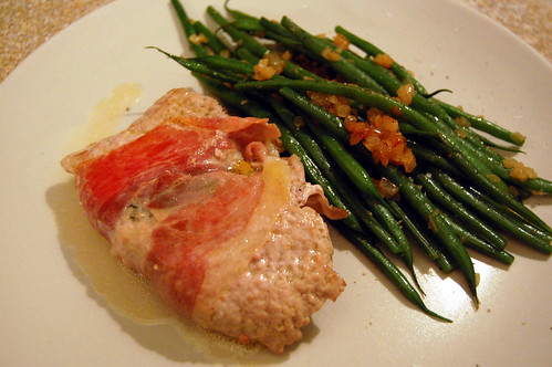 Veal Escalope Saltimbocca and Green Beans