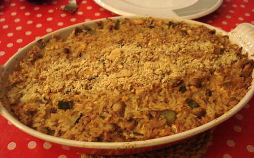 Courgette, mushroom and rice savoury
