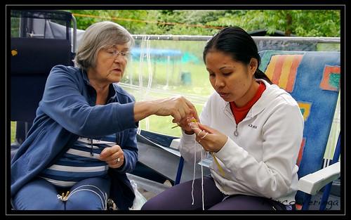 Oma teaching Emilie Knitting