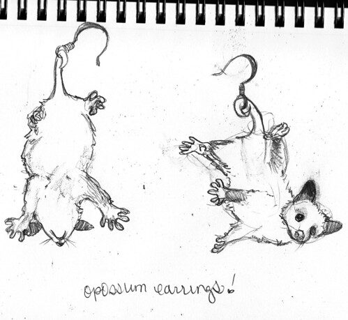 opossum earrings by junipermoon