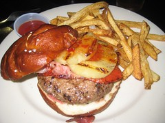burger + sriracha sauce, prosciutto, grilled pineapple, roasted red peppers, sweet chili paste