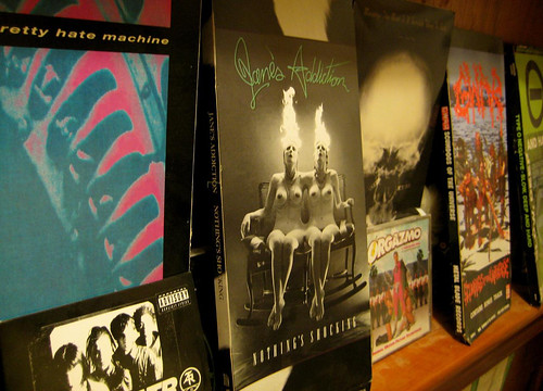 20080223 - cd longboxes - Nine Inch Nails: Pretty Hate Machine, Jane's Addiction: Nothing's Shocking, Ministry: The Mind Is A Terrible Thing To Taste, Gwar: Scumdogs Of The Universe, Type O Negative: Slow, Deep And Hard, Atari Teenage Riot: Live In Philad