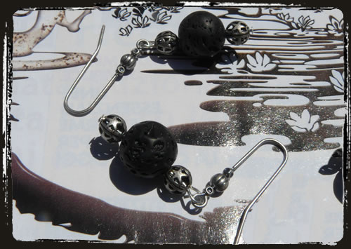 Orecchini neri lava - Lava rock handmade earrings MEHGLNE