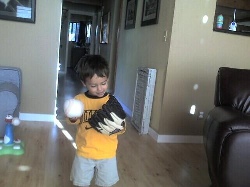 Mason and his first baseball glove