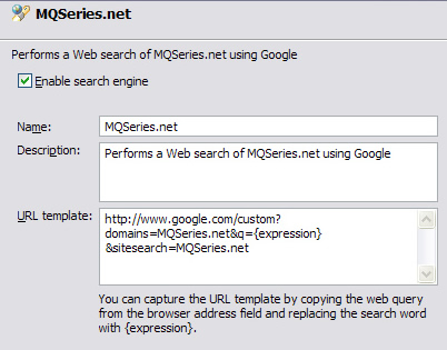 Settings for adding MQSeries.net as a search location