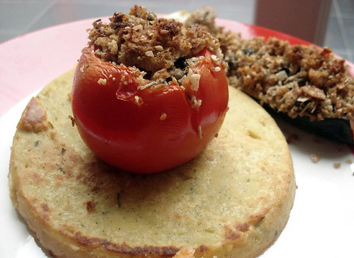 Panisses with stuffed tomato & zucchini