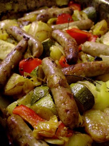 Pork and Herb Chipolatas & Roasted Vegetables