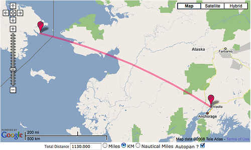 Distance from Wasilla, Alaska, to Russia by erikrasmussen.
