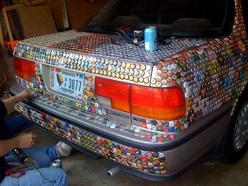 More bottle caps on car