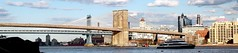 Brooklyn and Manhattan Bridges from East River...