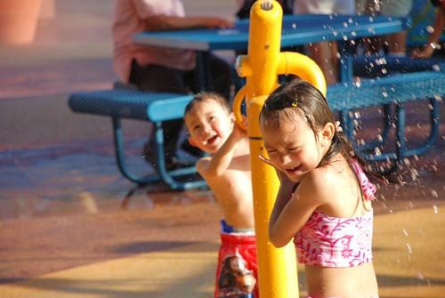 Julianna and Josh playing at SeaWorld