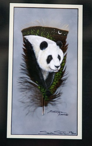 Panda handpainted on a feather!