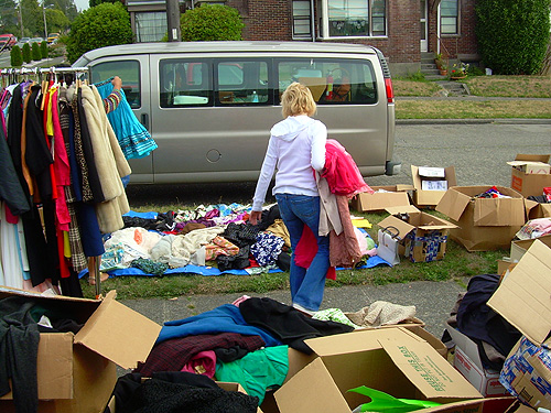 Vintage clothes sale with boxes and boxes