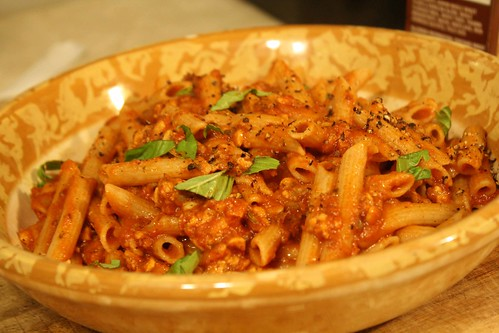 Penne with Tempeh Sauage Crumbles