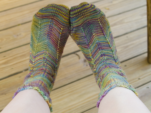 Jaywalker Socks out of Koigu - a little loud, but I love em