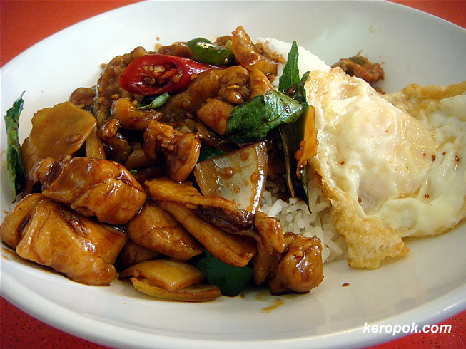 Rice, San Bei Chicken and a fried egg.