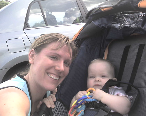8 mos - Me: hot and sweaty after a run. Claire: chillin' in the jogging stroller