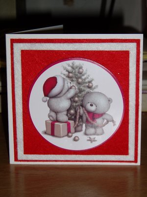 the white and red backgrounds on this card are made from felt so its a very tactile card