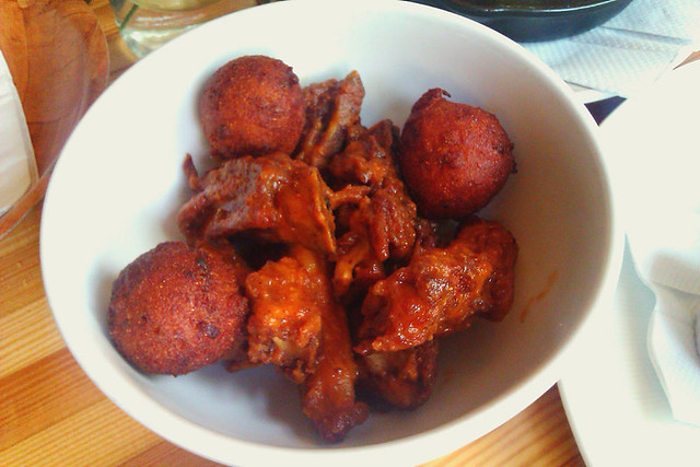 Fried pig tails with hushpuppies
