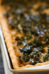 Onion-kale tart