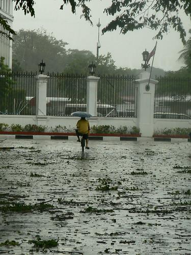 typhoon frank_man on bike with umbrella_gate 4 malacanang