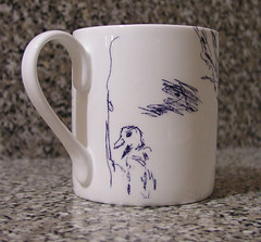 Bird and scribbles on my new Tracey Emin mug I bought at the Royal Academy