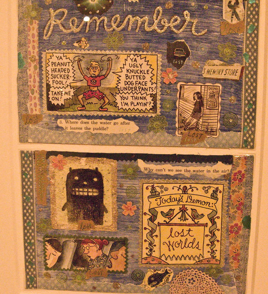 Original collages from Lynda Barrys 100 Demons, which is a totally genius mix of childhood trauma, adult neuroticism, and the purest sort of tragicomedy exemplified by its spiritual predeccessor Peanuts. (Of course, Peanuts is the spiritual predecessor of like, 50-99% of printed comics...)