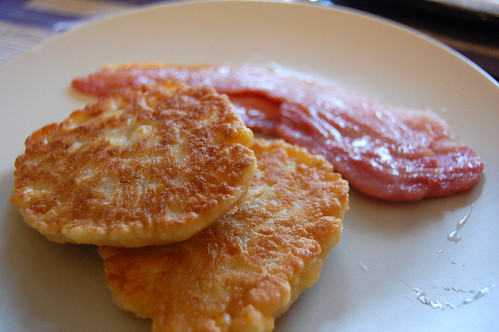 Corn Fritters and Streaky Bacon