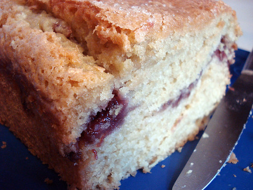 vegan strawberry ribbon'd pound cake