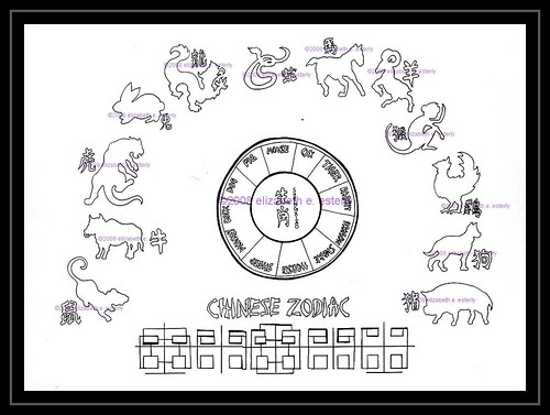 Tattoo flash: Chinese Zodiac (line). Color version is here.