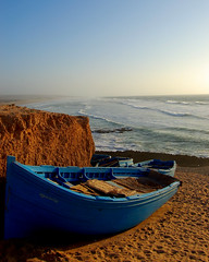 Blue boats above Morocco's Sidi Jonas Beach