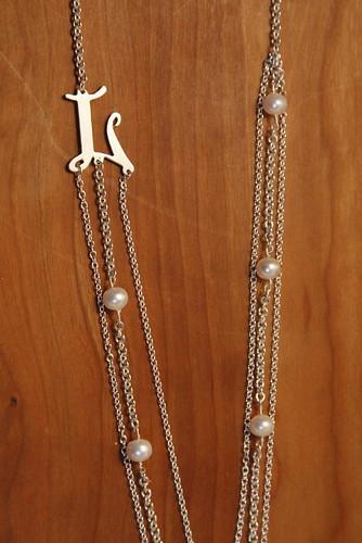 Triple Chain Monogram Necklace