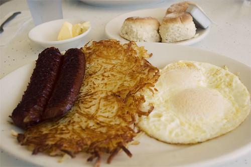 2 eggs, hash browns, smoked sausage