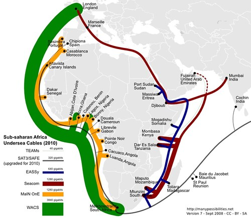 Sub-saharan Undersea Cables in 2010 - maybe (version 7)