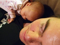 Flora snoozing with Daddy