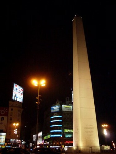 downtown at night Obelisco