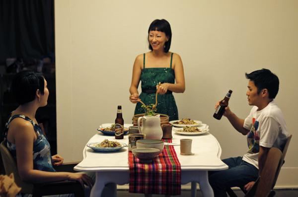 Jenn serves dinner