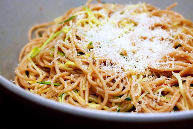 zucchini strand spaghetti, minutes before its demise