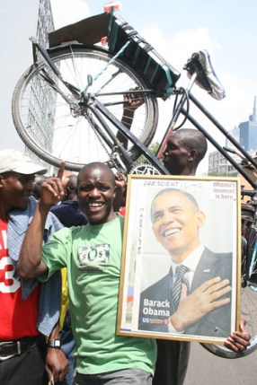 Dancing in Nairobi upon election of Obama