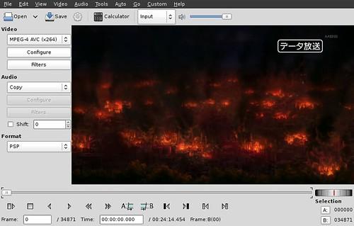 Layar Avidemux setelah membuka file video