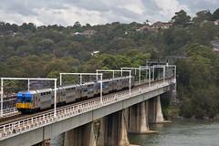 A V-Set heads south towards Wollongong over The Como Bridge