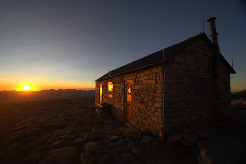 Sun sets on the shelter