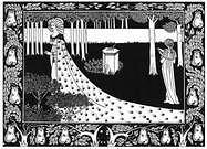 Aubrey Beardsley. La Beale Isoud at Joyous Guard. Le Morte d'Arthur.