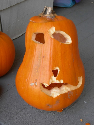 Squirrel-eaten pumpkin