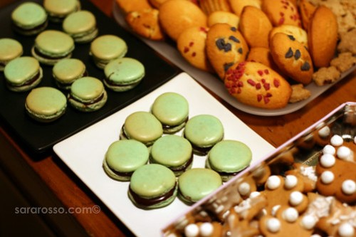 Macarons with Dark Chocolate Mint Ganache for Holiday Cookie Swap