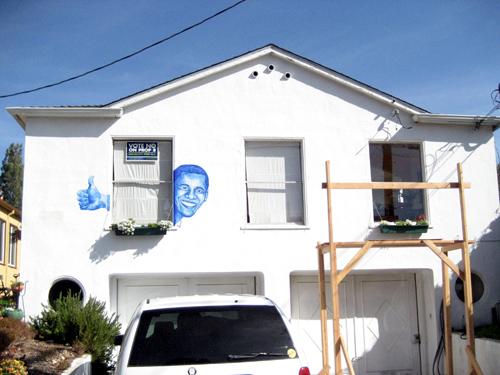 Obama art on Berkeley house